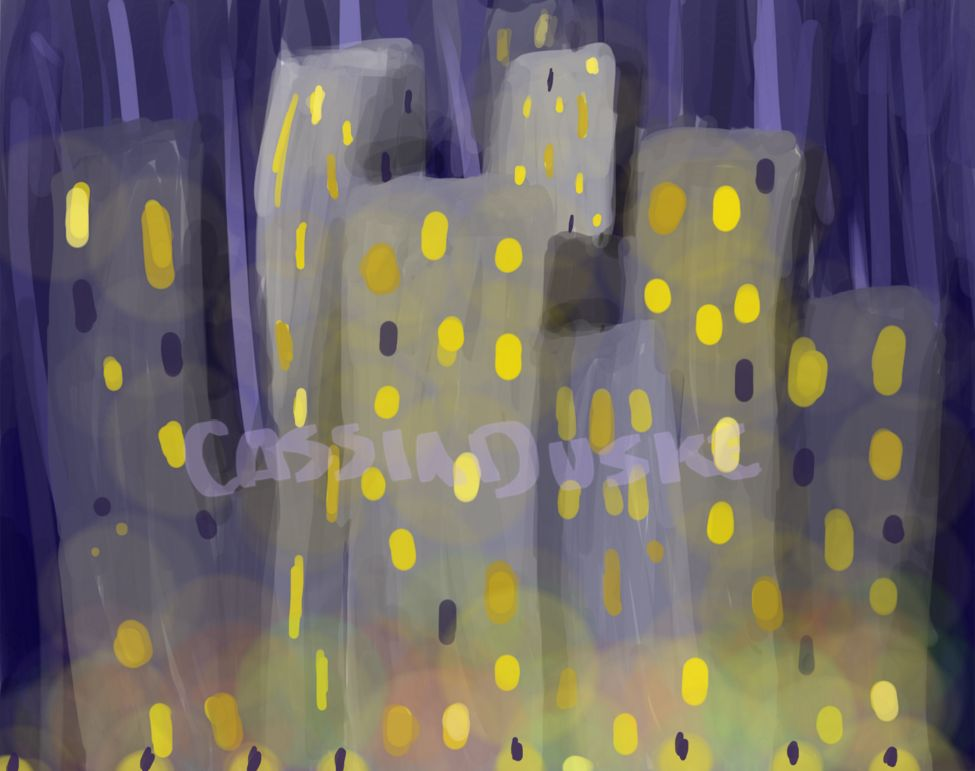 Buildings dotted with yellow windows stretch into a purple skyline, above a glowing street.